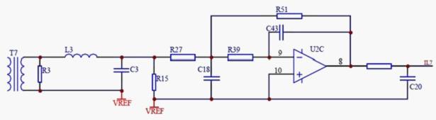 图3 信号采集电路 2.4 人机交互单元   人机交互单元采用LCD液晶显示和按键输入。能够直观地显示测量参数和设置参数。用户可根据实际需要进行各种参数的设定设置。 2.5 RS485通讯接口   通讯接口模块采用通用的RS-485、Modbus RTU通讯规约,能实现遥测、遥控、遥信等功能,见图4。