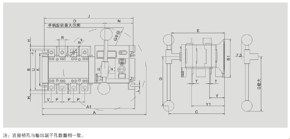 隔离型双电源转换开关sfq5-100a/4p