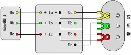 三相三线电源测量三相变压器空载损耗的直接接线示意图