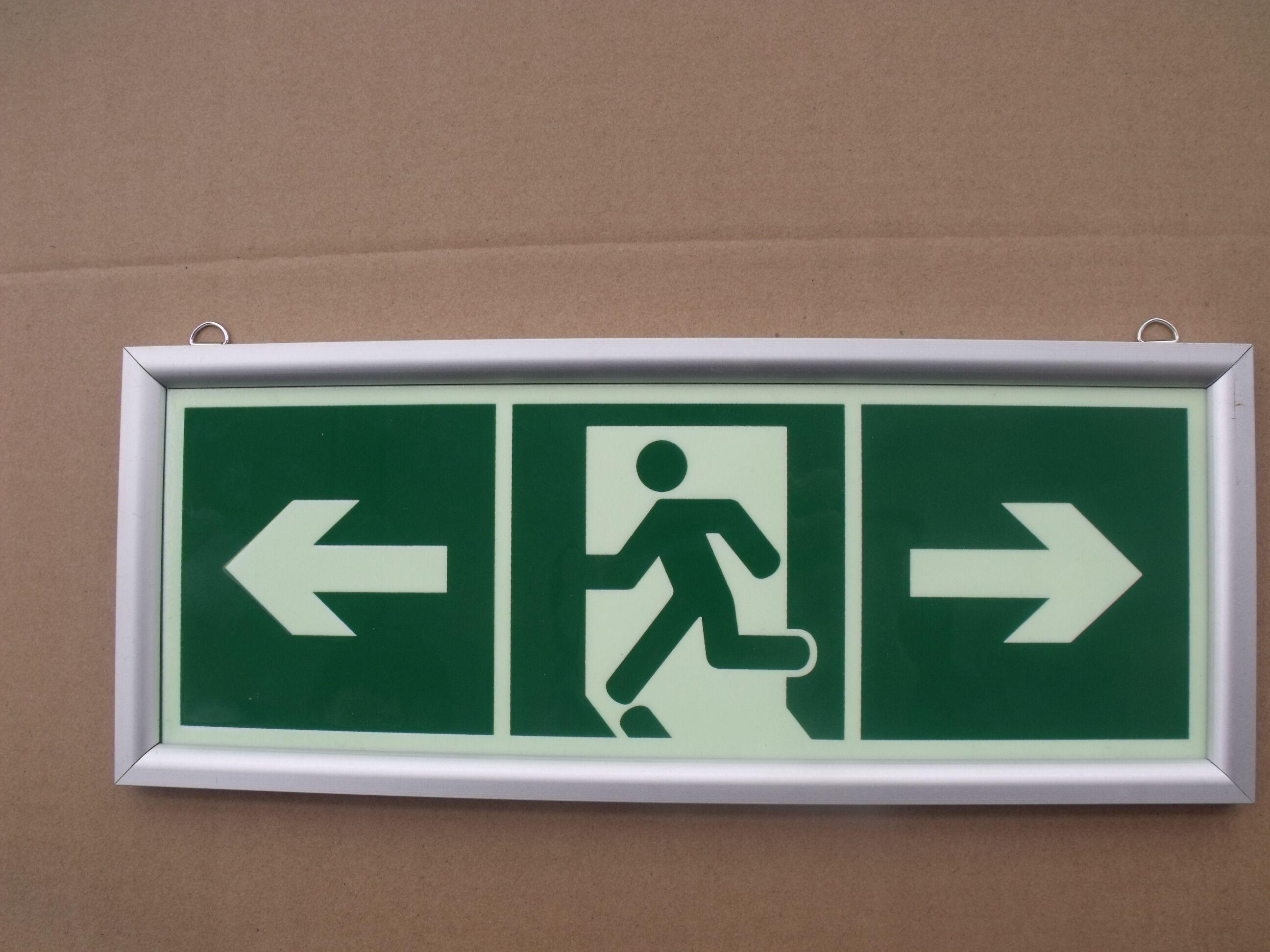 安全出口标志夜光发光铝合金边框紧急出口消防安全